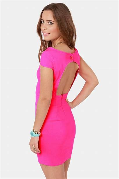 Neon Pink Backless Fire Dresses Prom Club