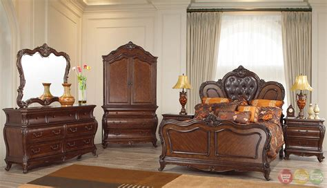 beth traditional cherry upholstered bedroom set with