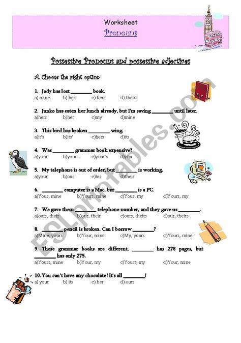 possessive pronouns and possessive adjectives esl worksheet by verita