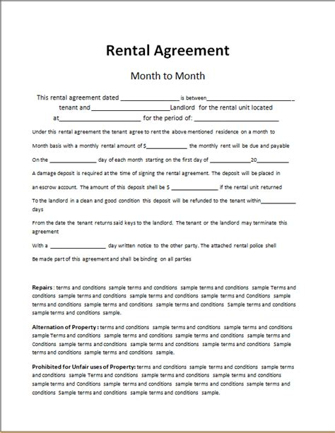 rent   contract word excel templates