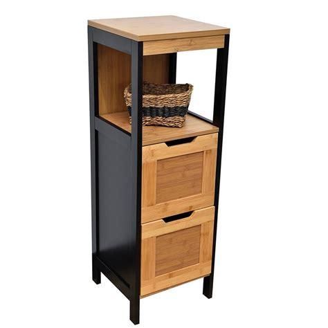 robinet de cuisine noir colonne meuble bas de salle de bain 2 tiroirs 1 niche style vintage en bambou coloris