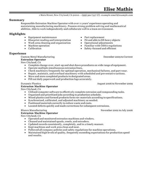 Cv For Machine Operator by Metal Equipment Operator Resume Equipment Operator Resume