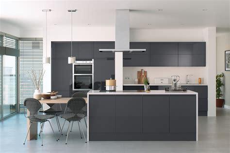 Handleless High Gloss Anthracite Doors - Kitchen Warehouse