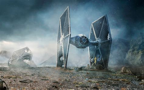 daily wallpaper star wars tie fighter crash landing