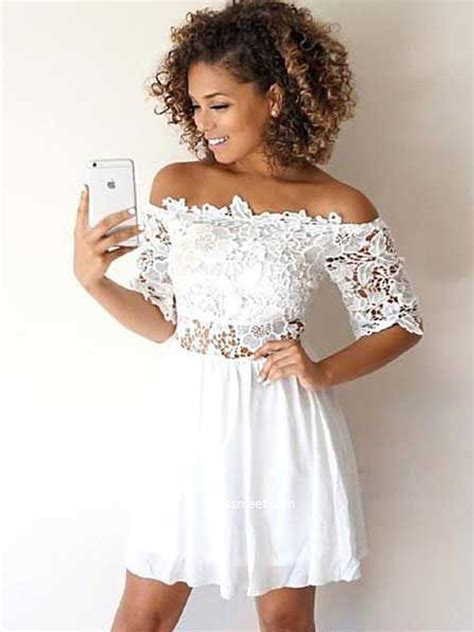 A Line Off the Shoulder Half Sleeves White Lace Short ...