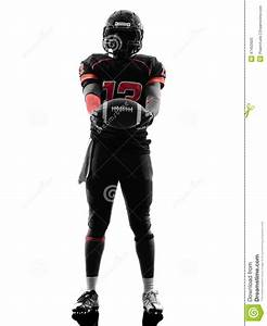 American Football Player Standing Holding Ball Silhouette ...