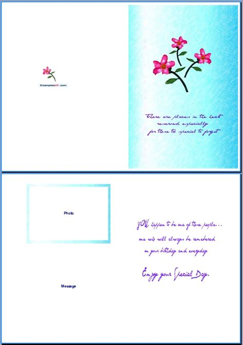 birthday card template exle of birthday card for special day