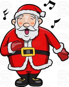 a jolly santa claus singing in delight clipart