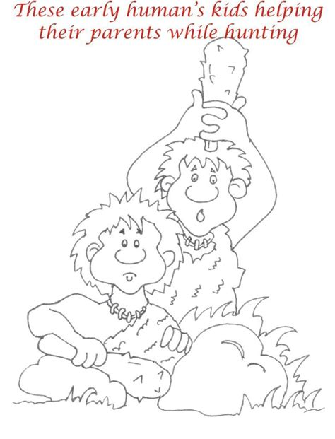 early humans printable coloring page  kids