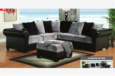 Black And Gray Sofa by F Gray Black Chion Fabric Leather Sectional Sofa