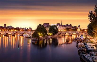 Seine France Paris Capital Wallpapersafari Evening Lights