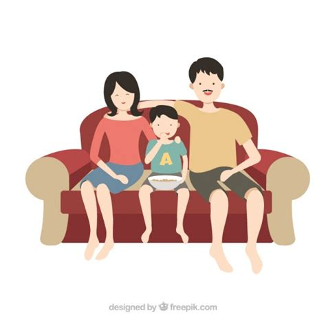 sofá restaurante vetor happy family on a couch vector free download