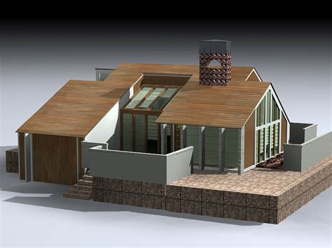 modern rustic house  model ds max files