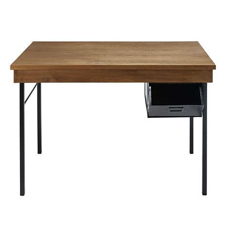 bureau en metal bureau indus 1 tiroir en chêne massif et métal noir