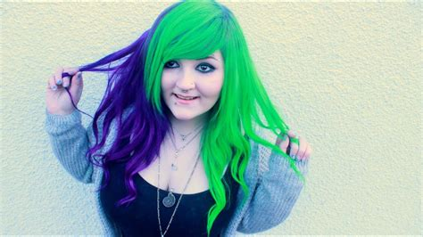 Dying My Hair Purple And Green ♥ Half And Half Youtube