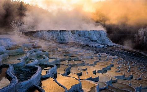 nature landscape sunrise water mist hot spring