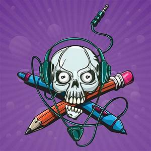 Print Skull Headphones With A Pencil And A Stylus On An