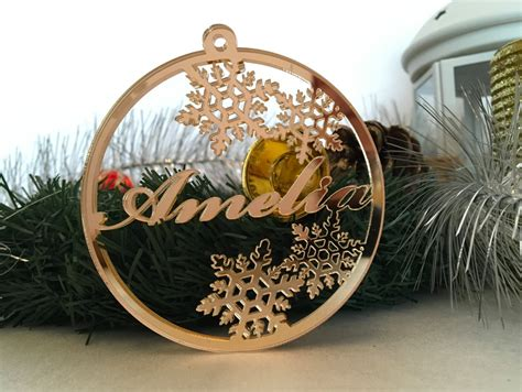 personalized christmas acrylic gold mirror bauble