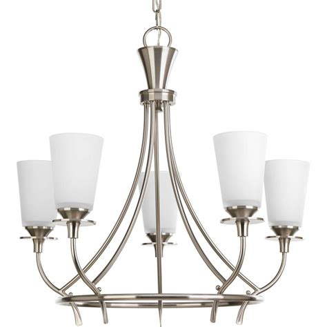 brushed nickel chandelier progress lighting applause collection 5 light brushed