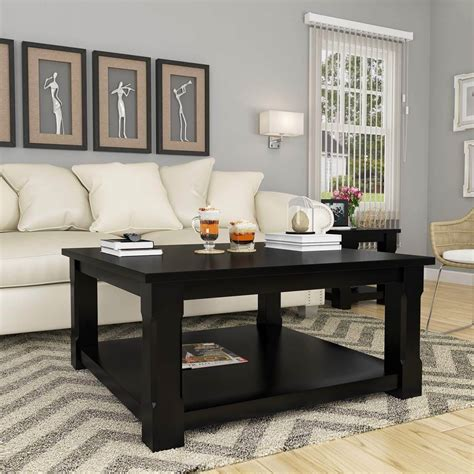 brimson contemporary style solid wood 2 tier square coffee