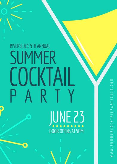 bright cocktail party flyer templates  canva