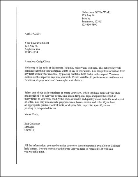 client letter template samples