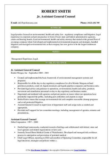 You will see right off the bat in our office assistant resume example that the many required skills are properly identified. Assistant General Counsel Resume Samples | QwikResume