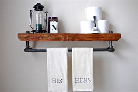 Bathroom Shelf With Towel Bar Wood by 20 Savvy Handmade Industrial Decor Ideas You Can Diy For