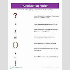 Punctuation Practice More Matching  Worksheet Educationcom