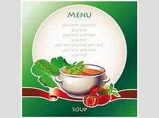 Creative soup menu cover vector material Vector Cover