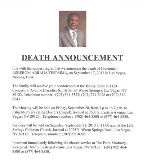 death notice samples   psd word