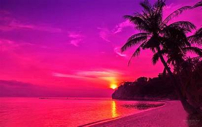 Sunset Beach Pink Desktop Background Wallpapers Purple