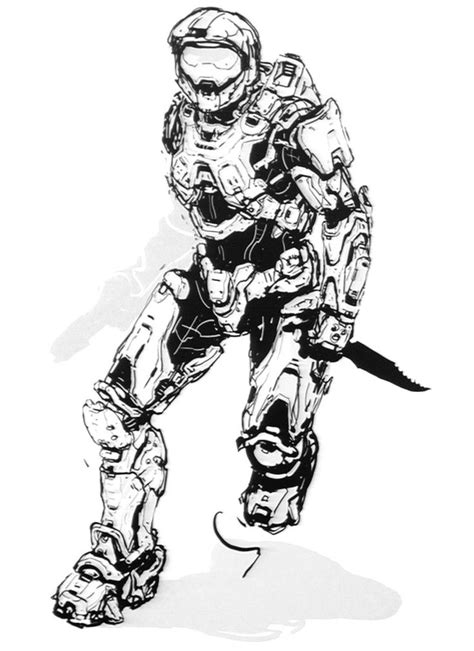 Halo 4 Art And Pictures Master Chief Sketch Halo Drawings