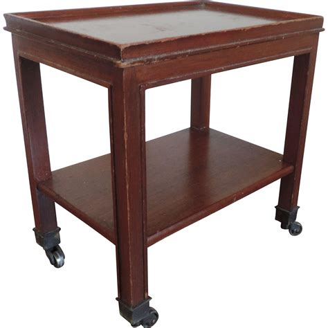end table with wheels small mahogany two tier occasional side table or caddy on