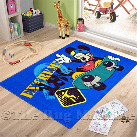 mickey mouse rugs carpets mickey mouse skater play rug 100x150cm non slip