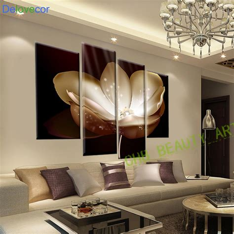 Painting Living Room Walls by 4 Panel Gold Flower Printed Painting Canvas Picture Wall