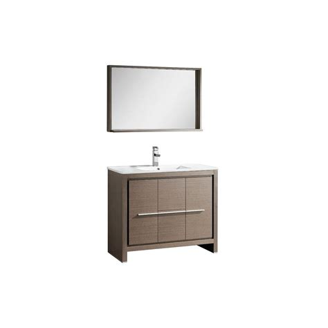 Fresca Bath Vanity Reviews by Fresca Allier 40 In Vanity In Gray Oak With Ceramic