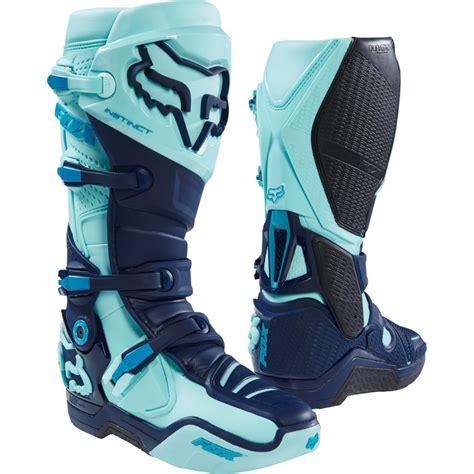 blue dirt bike boots fox instinct glen helen le ice blue boots motocard