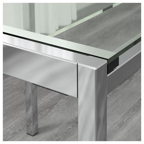tables rondes avec rallonges ikea glivarp extendable table transparent chrome plated 125 188x85 cm ikea