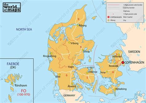 Digital Postcode Map Denmark 1-digit 77