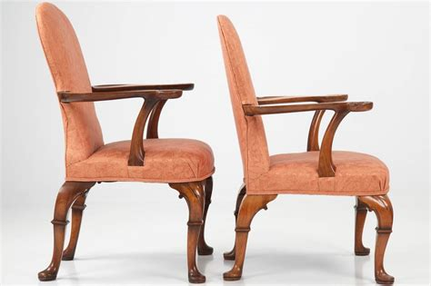 Pair Of English George Ii Style Antique Arm Chairs W
