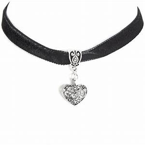 Silver Heart Black Velvet Ribbon Choker | Rose & Co ...