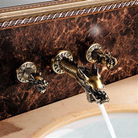 ferrara antique brass dragon shaped dual handle wall