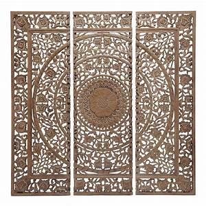 Triptyque Maison Du Monde : triptyque sculpt en bois brun h 153 cm andaman maisons du monde ~ Teatrodelosmanantiales.com Idées de Décoration
