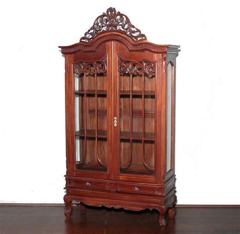 curio hutch antique solid wood cherry 2 door curio hutch bookcase