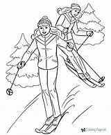 Coloring Skiing Gymnastics Basketball Tennis Playing Baseball Cool Learning sketch template