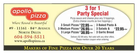 74195 Langley Restaurant Coupons by 3 For 1 Special At Apollo Pizza Restaurant Coupons
