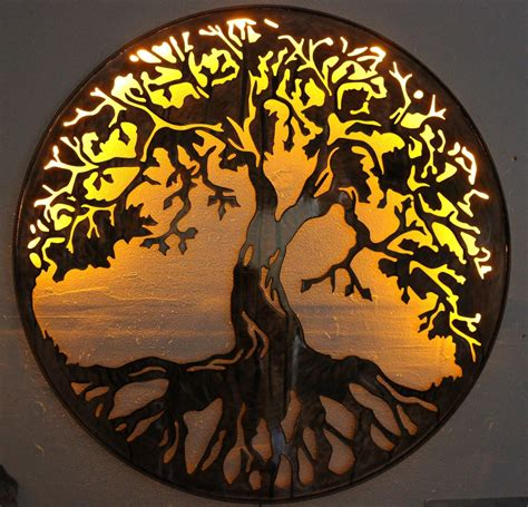 tree of metal wall 24 quot with led lights by hgmw