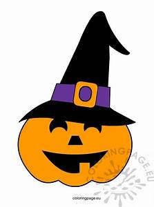 Halloween Pumpkin With Witch Hat  U2013 Coloring Page