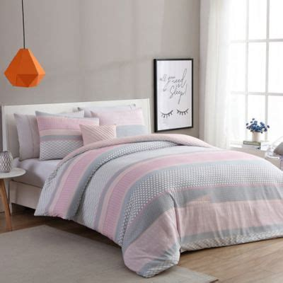 gray white and pink bedroom vcny home stockholm comforter set in pink grey bed bath 18822 | 1140998235387c
